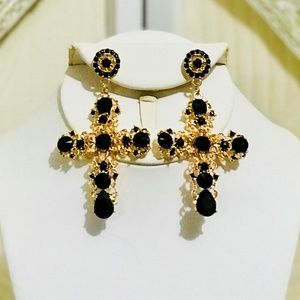 Gold ZARA BAROQUE Dolce Large Cross Earrings
